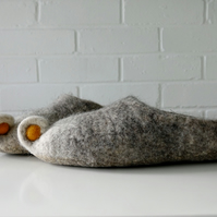 Adult & child grey wool handmade felted felt slippers, house shoes, mules