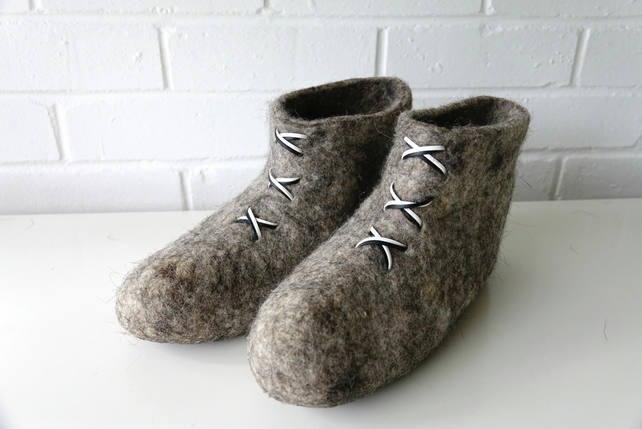 Natural women's grey wool handmade felted felt slipper boots, house shoes, clogs