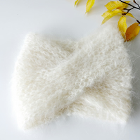 Fluffy hand knitted handmade cream white turban headband head wrap