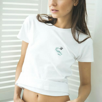 'Happy' Hand Embroidered boyfriend style T Shirt