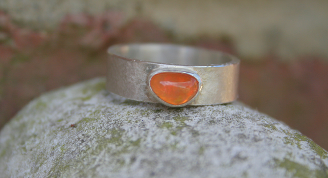 Sterling silver ring with an amber opal