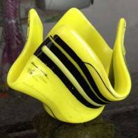 Yellow and black glass hanky point vase