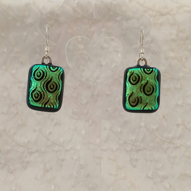 Fused glass greeny gold swirl earrings