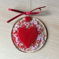 Red heart motif fused glass hanging suncatcher