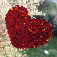 Red glass heart hanging decoration
