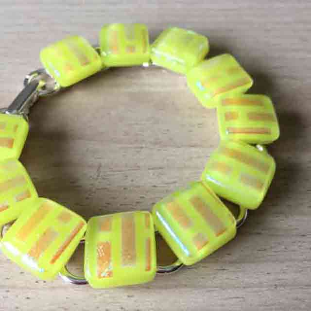 Bright yellow sparkly glass and silver plate bracelet