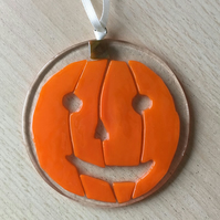 Pumpkin lightcatcher, fused glass hanging