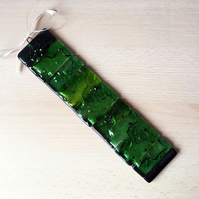 Fused glass hanging – holly leaves decoration, Christmas suncatcher