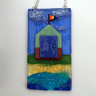 Brighton beach hut design suncatcher - handmade fused glass hanging