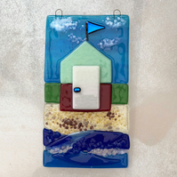 Beach hut design handmade fused glass hanging