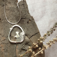 Sterling Silver Squirrel and Butterfly Necklace