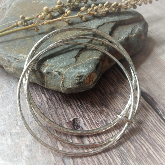 Sterling SilverTrio of Hammered Silver Bangles