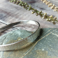Sterling Silver Hammered 6mm Sterling Silver Bangle
