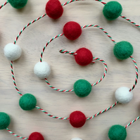 Traditional Christmas Pom Pom Garland