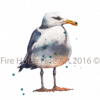 ORIGINAL Watercolour Seagull Painting by Welsh artist