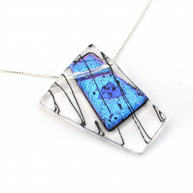 Large Asymmetric Fused Dichroic Pendant Blue to Pink