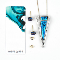 Teal Dichroic Glass Necklace & Earring Set