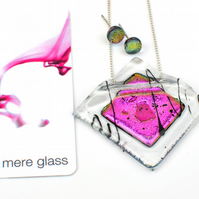 Hot Pink Dichroic Glass Necklace & Earring Set