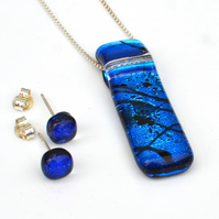 Royal Blue Dichroic Glass Necklace & Earring Set