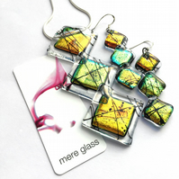 Limited Edition - Dichroic Glass Ghyll Pendant and Earring Set in Autumn Colours