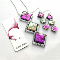 Limited Edition - Pink & Purple Dichroic Glass Ghyll Pendant and Earring Set
