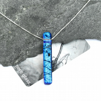 Blue Dichroic Glass Necklace: LINEA Range by Mere Glass