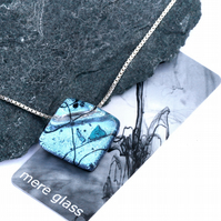 Light blue fused glass pendant on sterling silver chain
