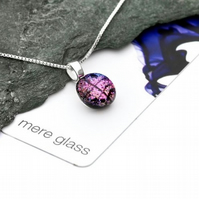 Pink Fused Glass Round Pendant: IDA Range by Mere Glass