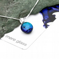 Aqua blue fused glass pendant on a sterling silver chain