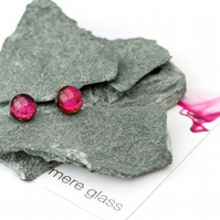 Small earrings in pink glass with sterling silver earring backs