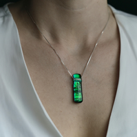 Glass Necklace in Emerald Green: LILABET Range by Mere Glass