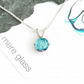 Small blue fused glass pendant on a sterling silver chain