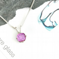 Small pink fused glass pendant on a sterling silver chain