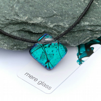 Aqua diamond shaped fused glass pendant on adjustable waxed cord