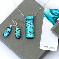 Handmade fused glass pendant and drop earrings jewellery set