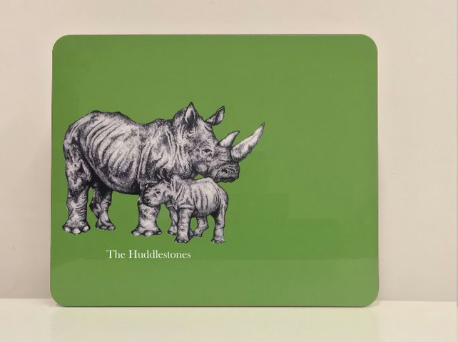 Personalised Rhino Placemat and Coaster