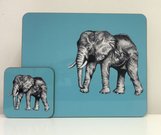 Elephant Placemat and Coaster Set
