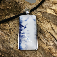 Pheasant Feather Cyanotype Pendant Necklace