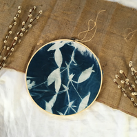 Sweet Pea Cyanotype Embroidery Hoop