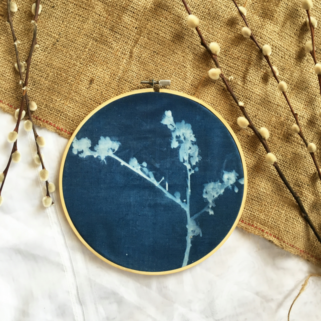 Blackthorn Blossom Cyanotype Hoop (no1)
