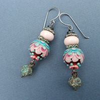 Lampwork glass beads earrings, glass teardrop earrings, boho earrings