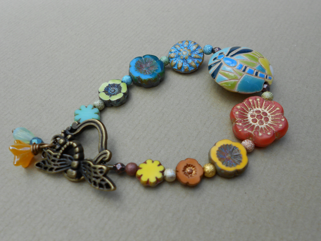 Ceramic  and glass Bracelet,Multicolour Bracelet,Flower Bracelet,Boho Bracelet