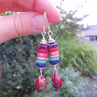 Multicolour earrings, drop earrings, ceramic beads earrings, glass earrings