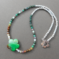 Multicolour Boho, Agate Flower and Czech Glass Beads Necklace