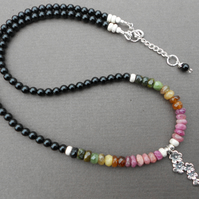 Multicolour tourmaline necklace, Agate necklace,rainbow necklace,boho necklace