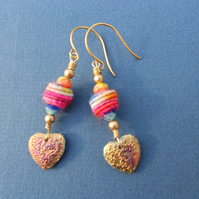 Multicolour earrings, Boho earrings, Glass earrings,Fabric bead earrings