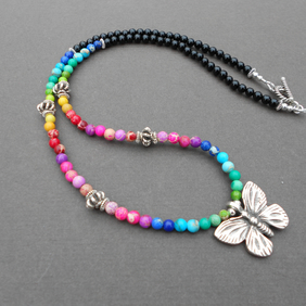 Butterly necklace,multicolour necklace,boho necklace,Jasper necklace