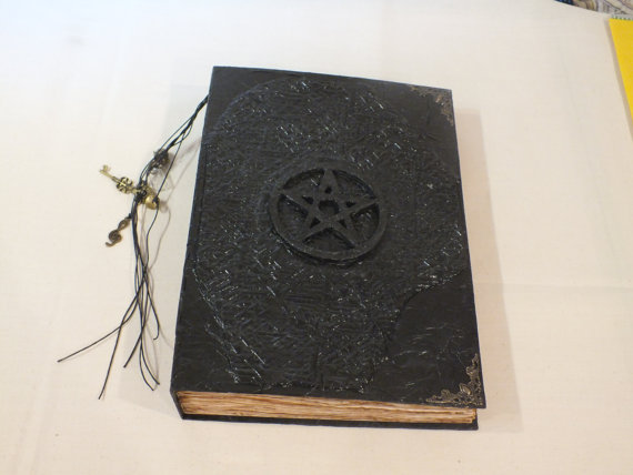 "Big Book of Shadows-A4-12""x8.5""-Clay Cover-Wicca-Pagan-Pentagram"