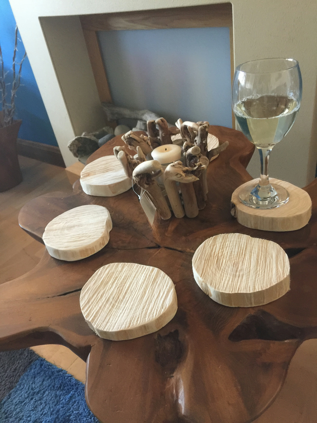 Reclaimed wooden coasters - set of 6 handcrafted