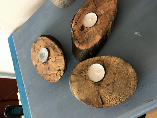 Reclaimed Wooden Candle holders x3 ; Tealight  Driftwood candle holders ;